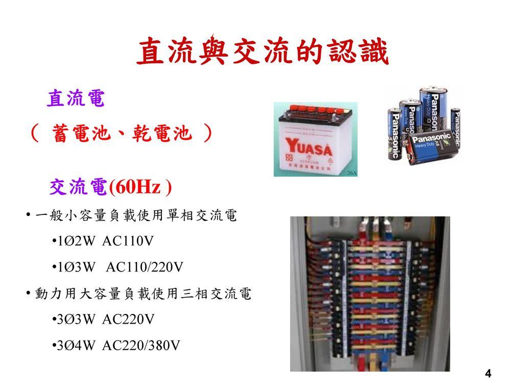 直流與交流的認識 直流電 ( 蓄電池、乾電池 ) 交流電(60Hz ) 一般小容量負載使用單相交流電 1Ø2W AC110V