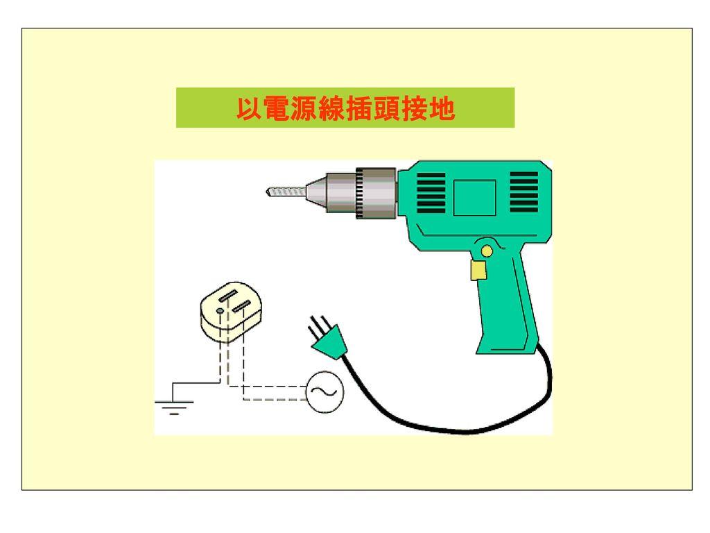 以電源線插頭接地 第2級 重點: 1.圖片說明。 2.採雙重絕緣及附接地極插頭之電動工具。