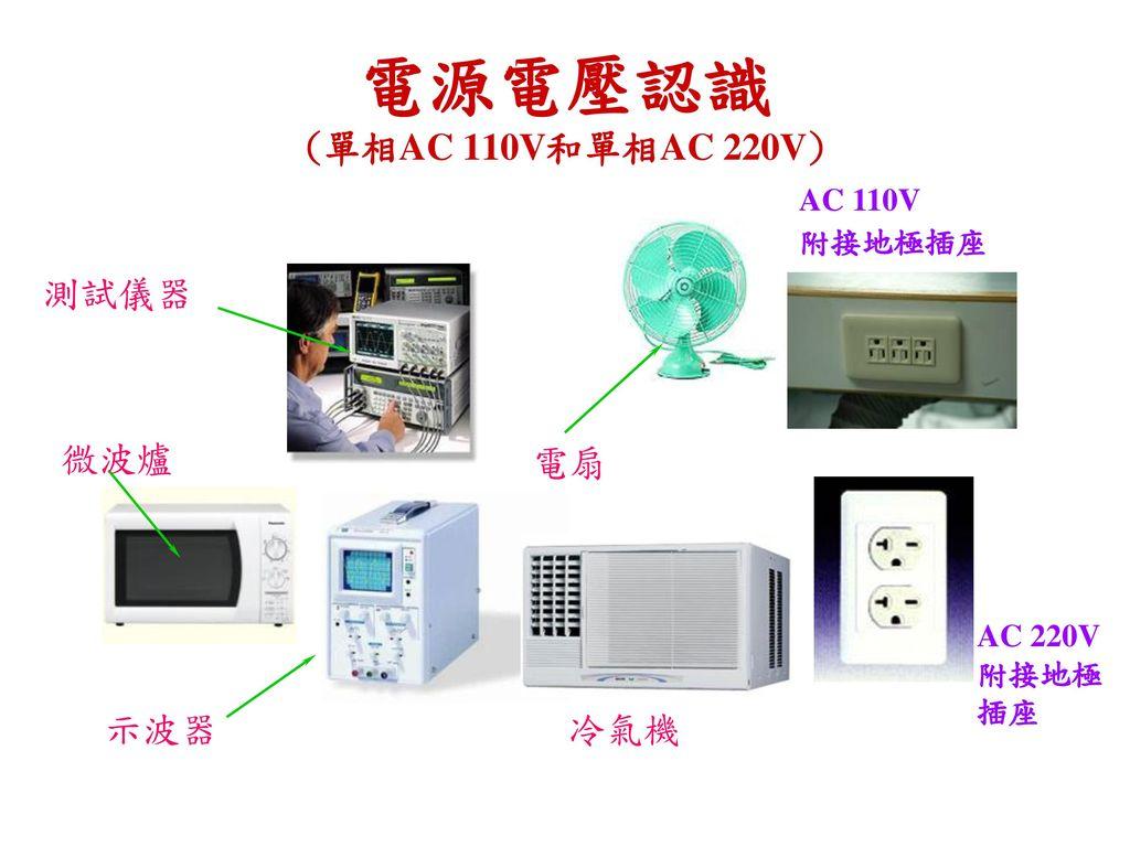 電源電壓認識 (單相AC 110V和單相AC 220V) 測試儀器 微波爐 電扇 示波器 冷氣機 AC 110V 附接地極插座 1P NFB