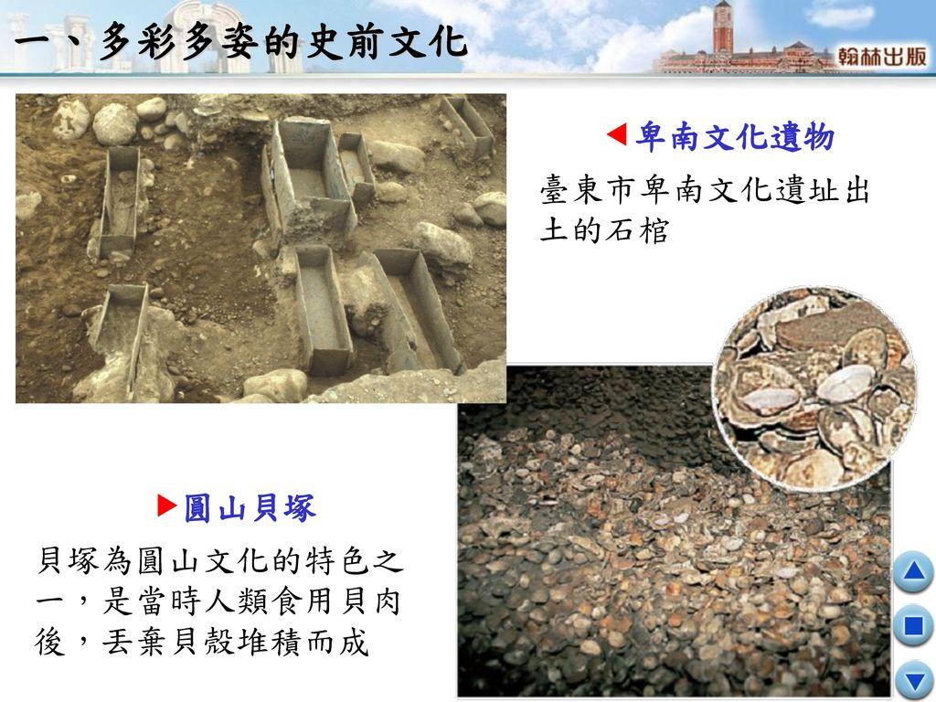 一、多彩多姿的史前文化 卑南文化遺物 臺東市卑南文化遺址出土的石棺 圓山貝塚