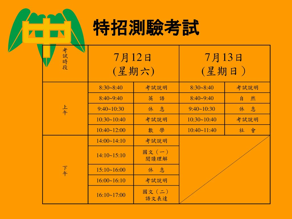 特招測驗考試 7月12日 (星期六) 7月13日 (星期日) 考試時段 上午 8:30~8:40 考試說明 8:40~9:40 英 語