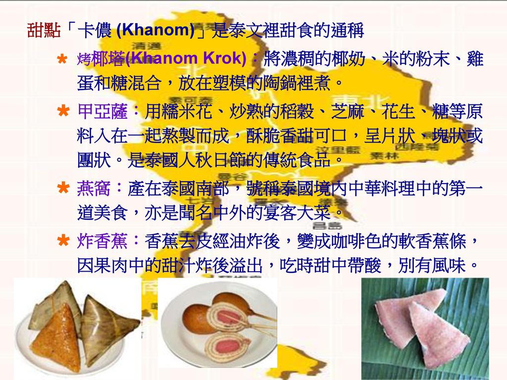 甜點「卡儂 (Khanom)」是泰文裡甜食的通稱