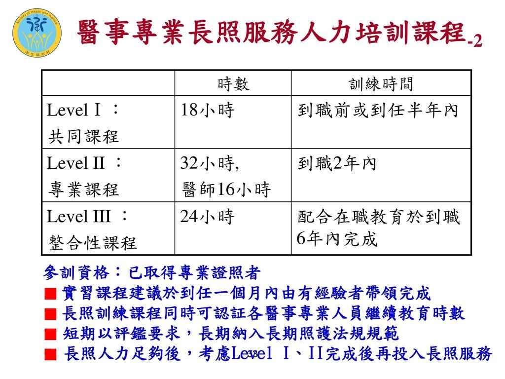 醫事專業長照服務人力培訓課程-2 LevelⅠ: 共同課程 18小時 到職前或到任半年內 Level II : 專業課程 32小時,