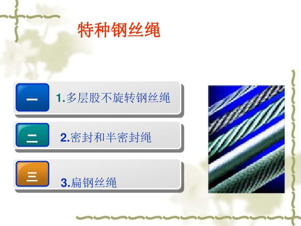 特种钢丝绳 一 1.多层股不旋转钢丝绳 二 2.密封和半密封绳 三 3.扁钢丝绳