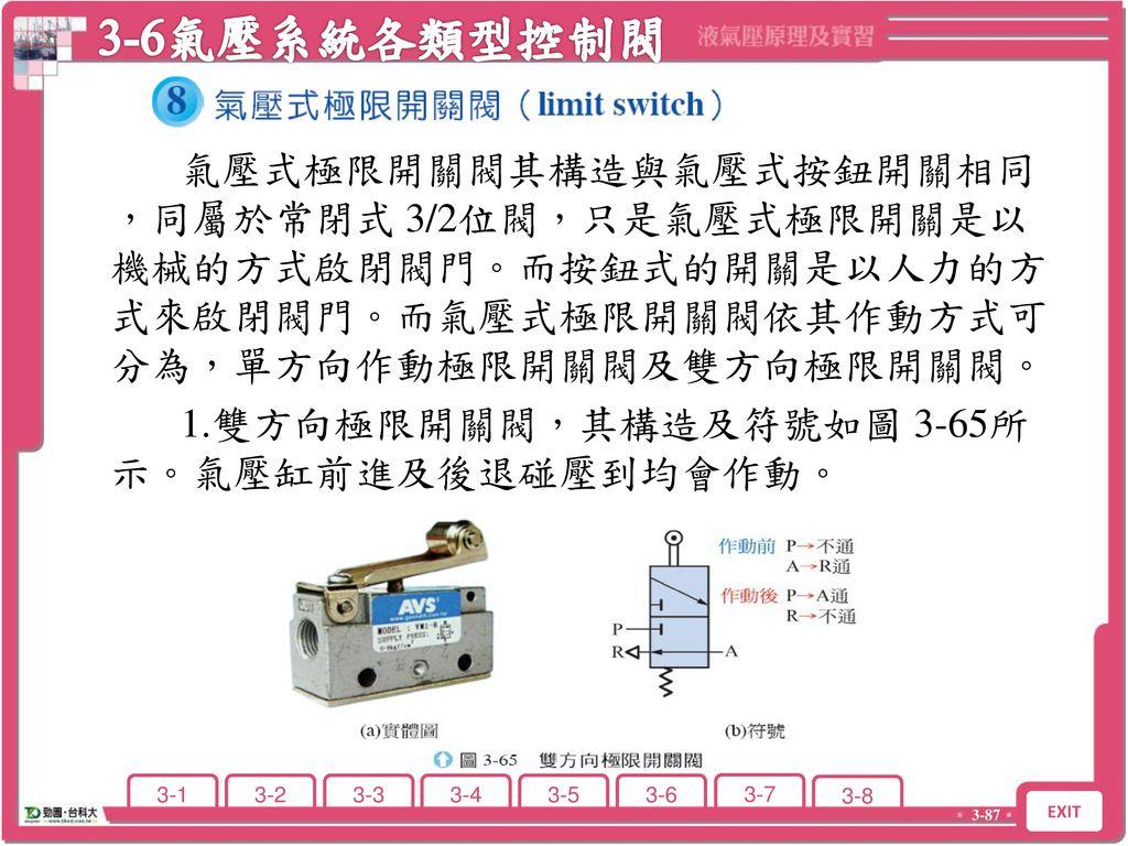 3-6 氣壓系統各類型控制閥之符號、構造、功用及作用情形