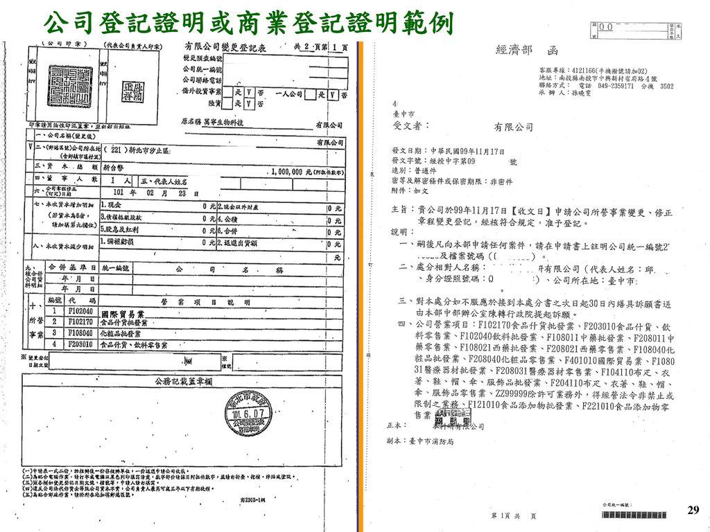 公司登記證明或商業登記證明範例 F401010國際貿易業 國際貿易業 29