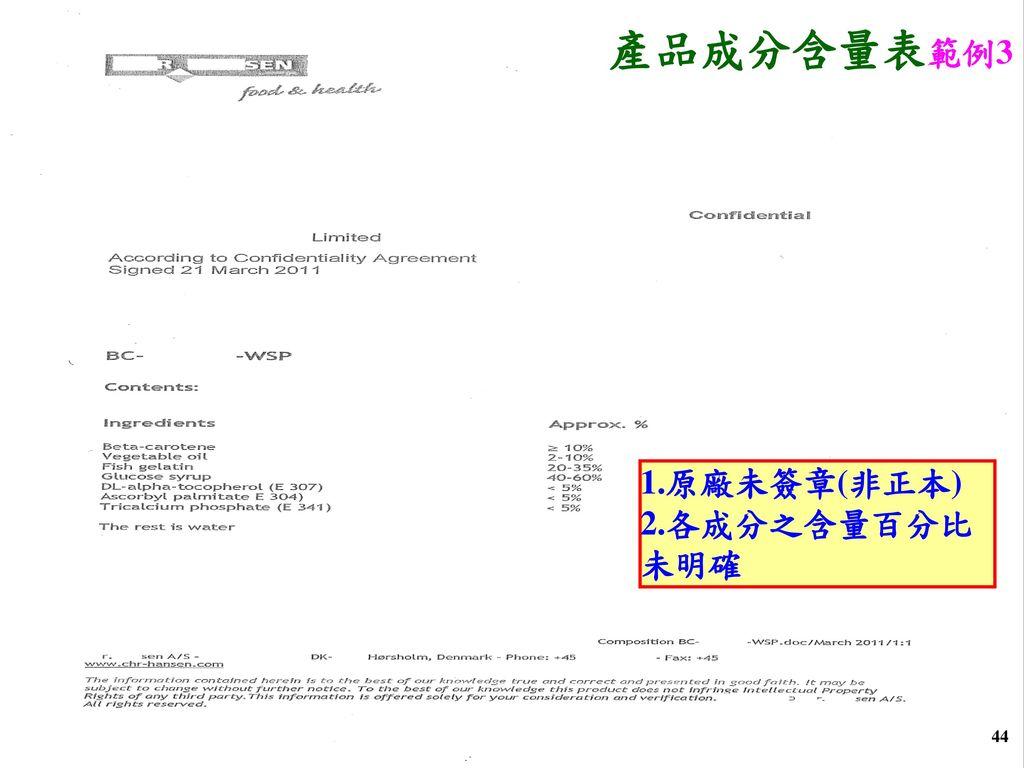 產品成分含量表範例3 1.原廠未簽章(非正本) 2.各成分之含量百分比未明確 44