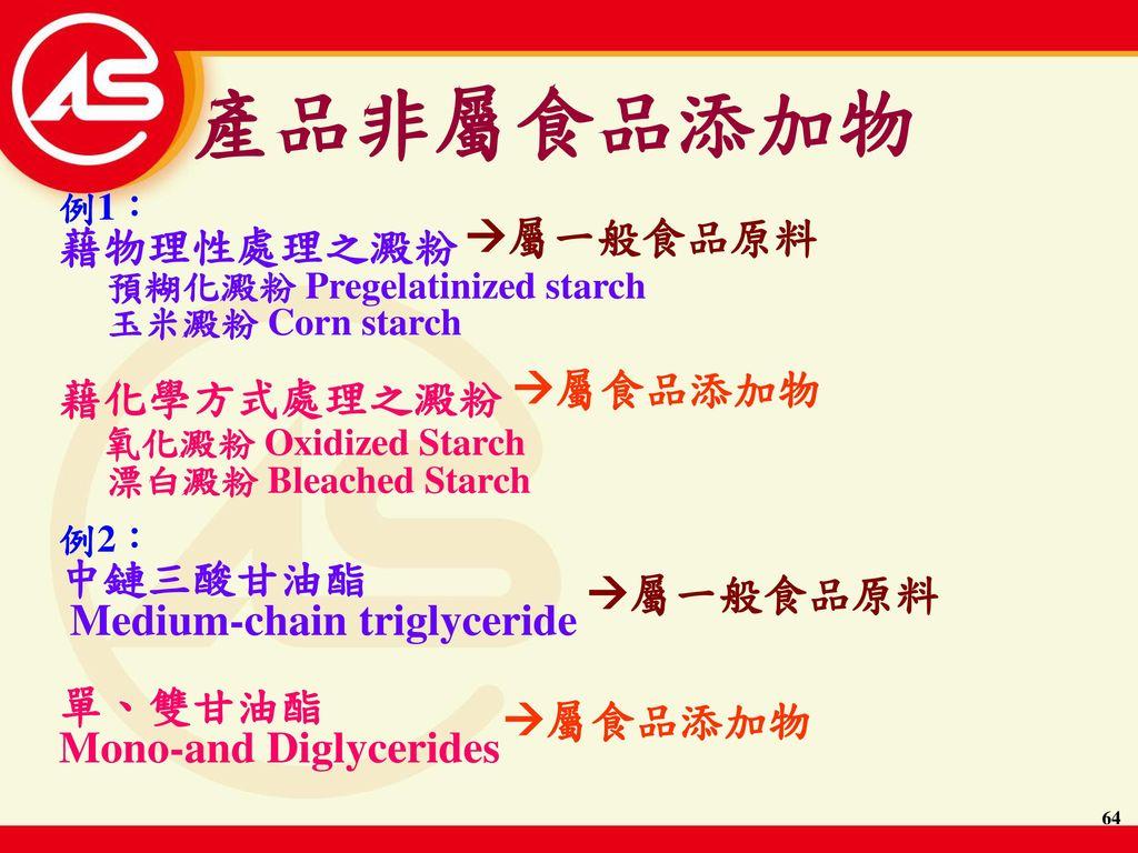 產品非屬食品添加物 藉物理性處理之澱粉 屬一般食品原料 藉化學方式處理之澱粉 氧化澱粉 Oxidized Starch 屬食品添加物