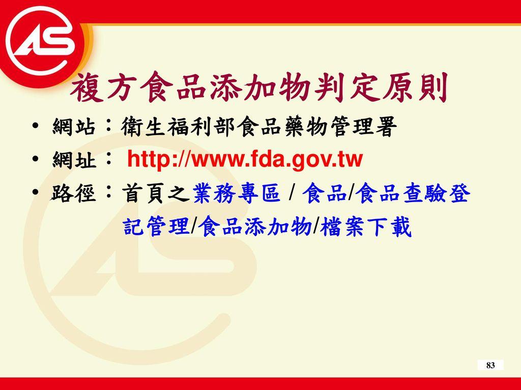 複方食品添加物判定原則 網站:衛生福利部食品藥物管理署 網址: http://www.fda.gov.tw