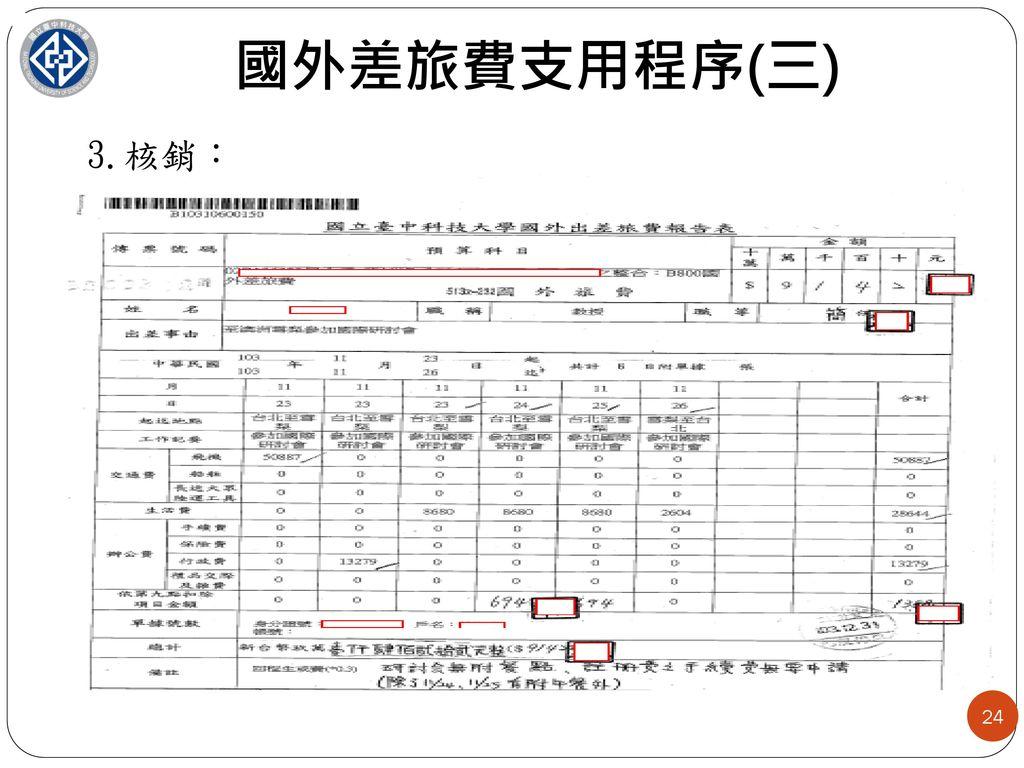 國外差旅費支用程序(三) 3.核銷: