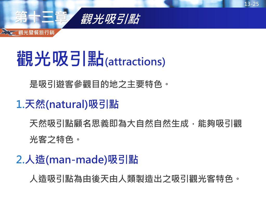 觀光吸引點(attractions) 觀光吸引點 天然(natural)吸引點 人造(man-made)吸引點
