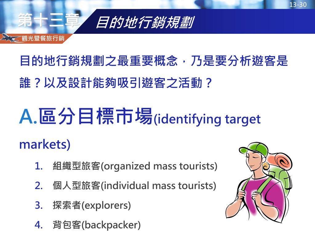 區分目標市場(identifying target markets)