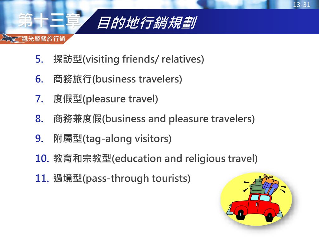 目的地行銷規劃 探訪型(visiting friends/ relatives) 商務旅行(business travelers)