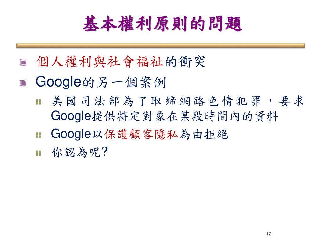 基本權利原則的問題 個人權利與社會福祉的衝突 Google的另一個案例