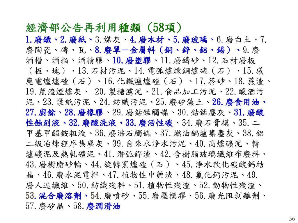 經濟部公告再利用種類 (58項) 1. 廢鐵、2. 廢紙、3. 煤灰、4. 廢木材、5. 廢玻璃、6. 廢白土、7. 廢陶瓷、磚、瓦、8