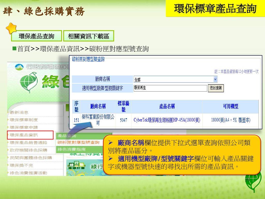 環保標章產品查詢 肆、綠色採購實務 首頁>>環保產品資訊>>碳粉匣對應型號查詢