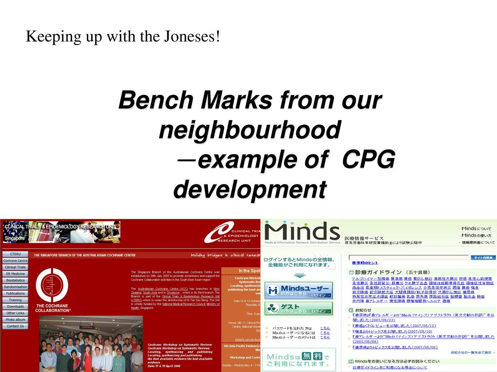 Bench Marks from our neighbourhood -example of CPG development