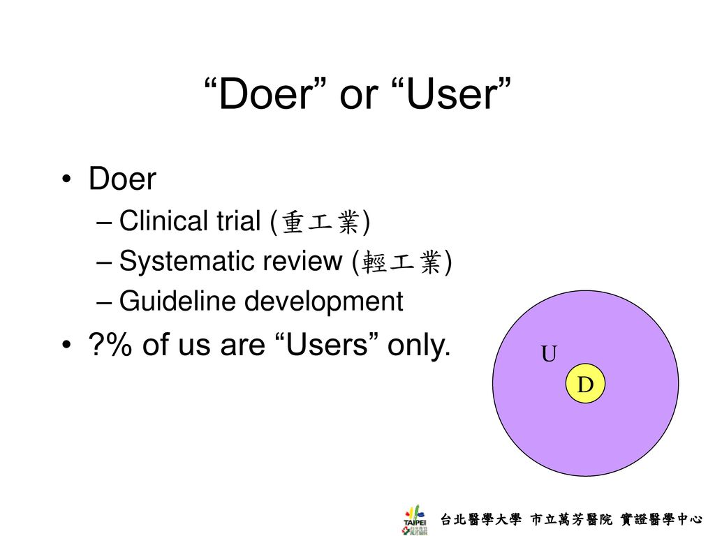 Doer or User Doer % of us are Users only. Clinical trial (重工業)