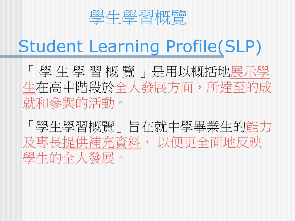 Student Learning Profile(SLP)