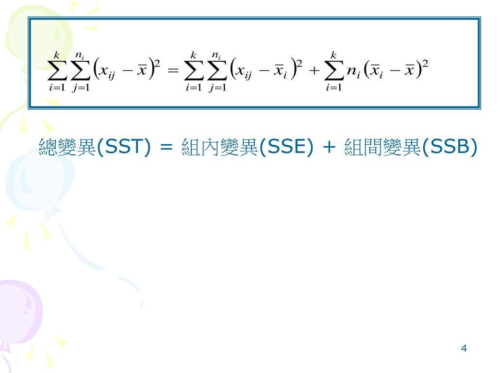 總變異(SST) = 組內變異(SSE) + 組間變異(SSB)