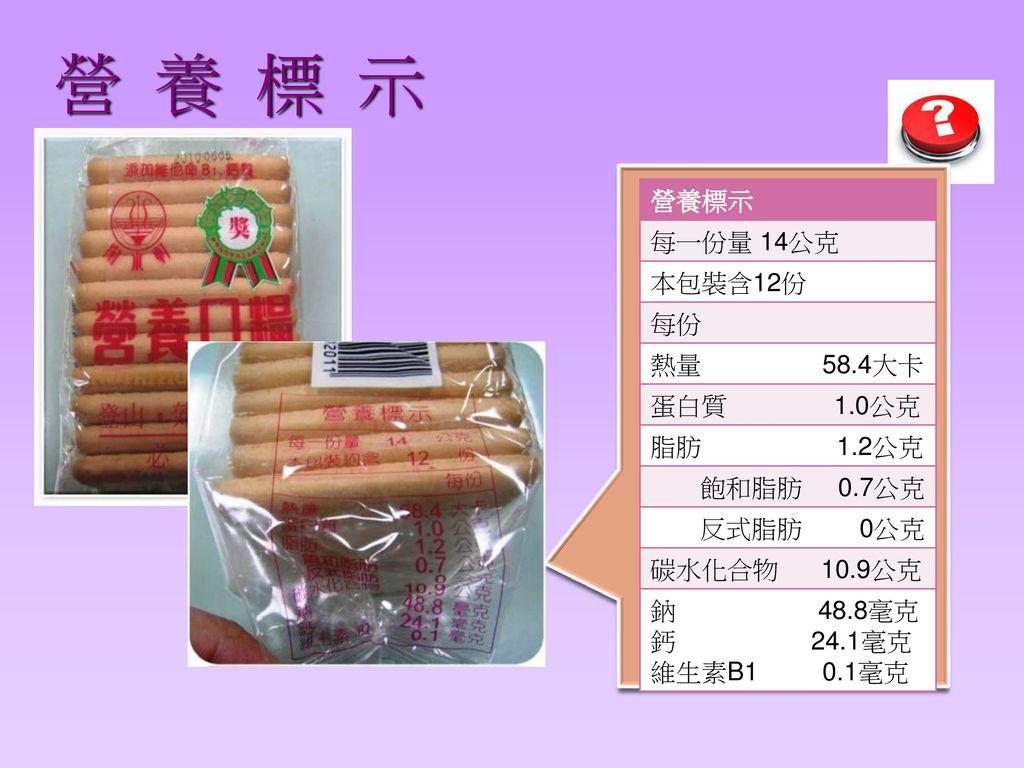 營 養 標 示 營養標示 每一份量 14公克 本包裝含12份 每份 熱量 58.4大卡 蛋白質 1.0公克 脂肪 1.2公克