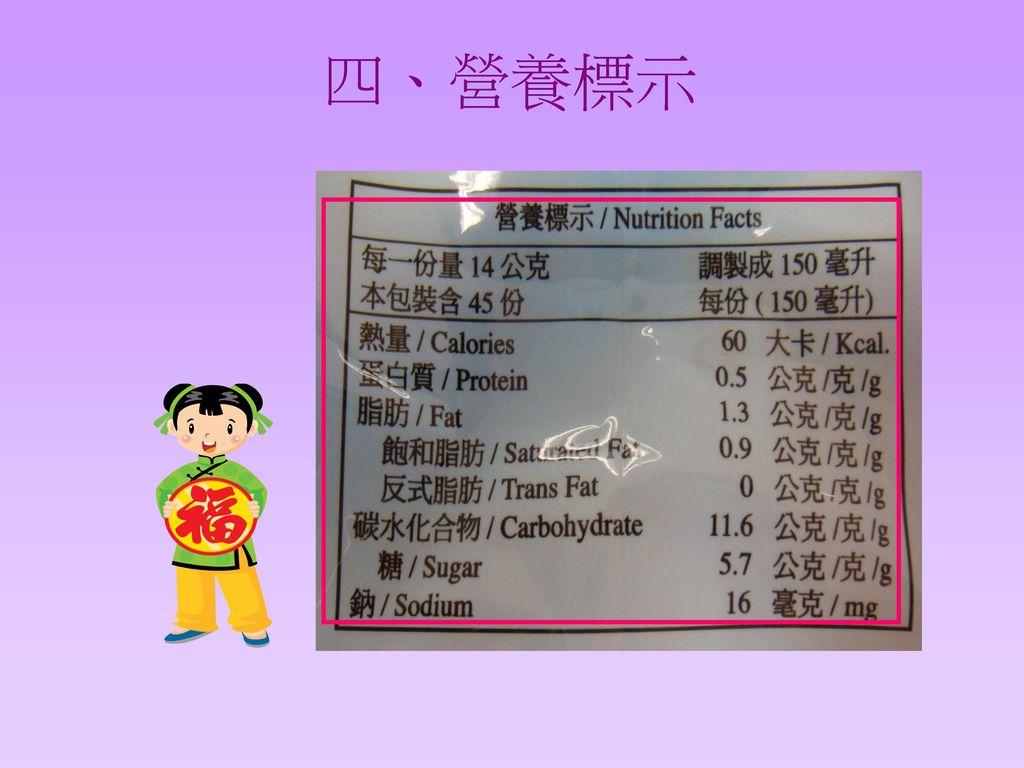 四、營養標示 換清楚的食品標示圖