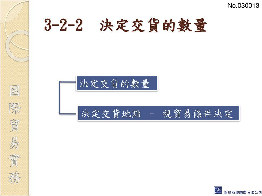 No.030013 3-2-2 決定交貨的數量 決定交貨的數量 決定交貨地點 – 視貿易條件決定