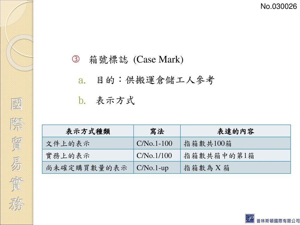 箱號標誌 (Case Mark) 目的:供搬運倉儲工人參考 表示方式 No.030026 表示方式種類 寫法 表達的內容 文件上的表示
