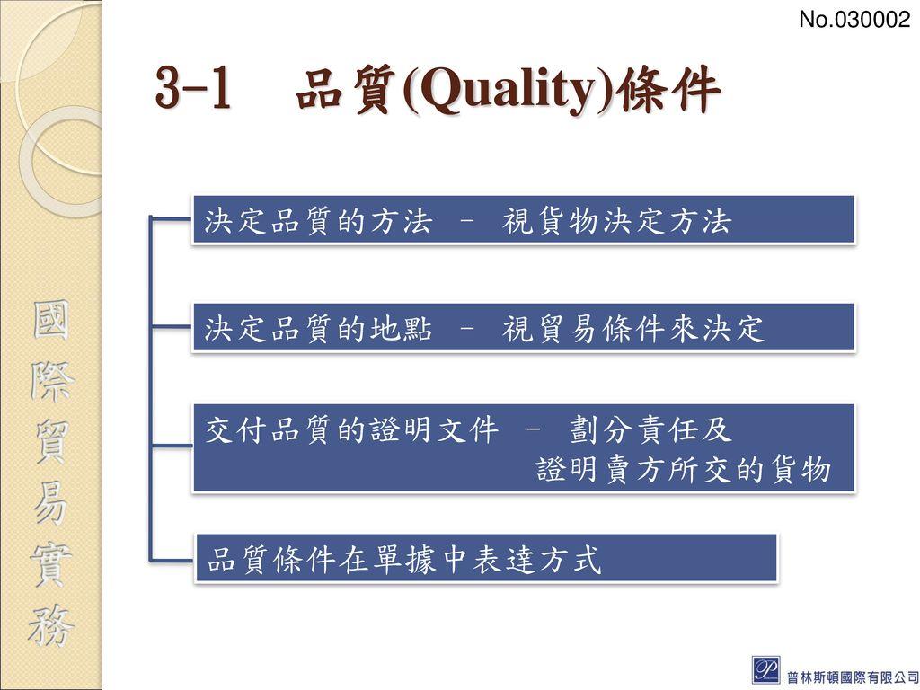 3-1 品質(Quality)條件 決定品質的方法 – 視貨物決定方法 決定品質的地點 – 視貿易條件來決定