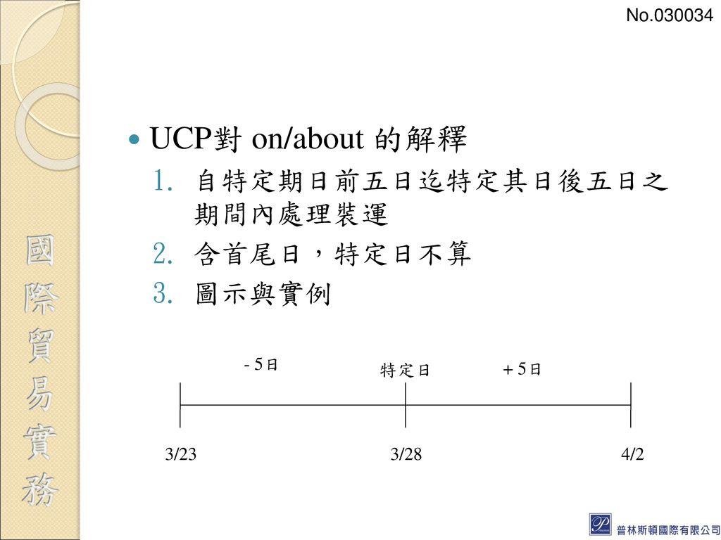 UCP對 on/about 的解釋 自特定期日前五日迄特定其日後五日之 期間內處理裝運 含首尾日,特定日不算 圖示與實例 No.030034