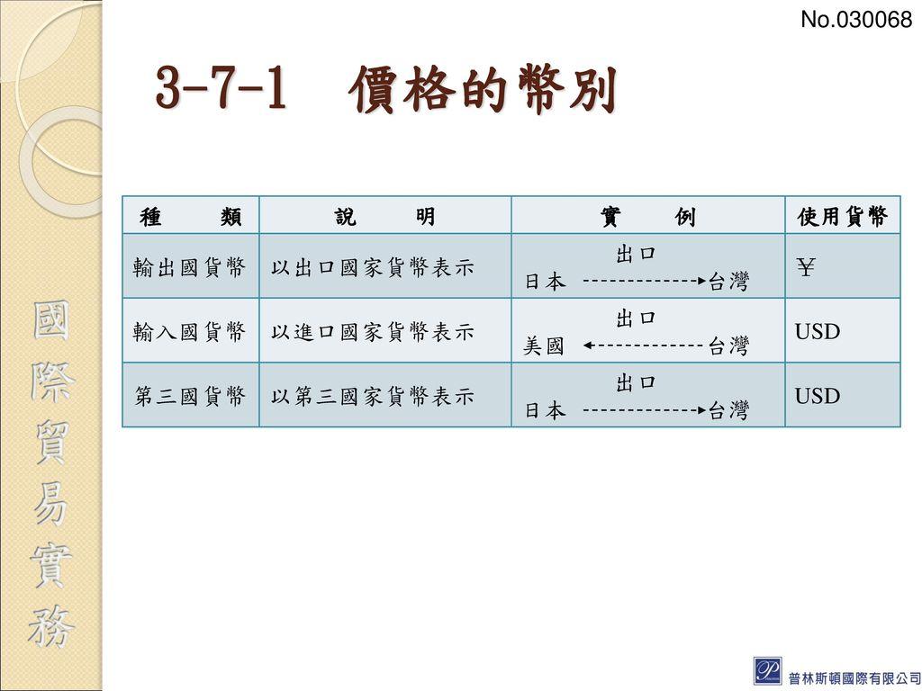 3-7-1 價格的幣別 No.030068 種 類 說 明 實 例 使用貨幣 輸出國貨幣 以出口國家貨幣表示 出口 日本 台灣 ¥