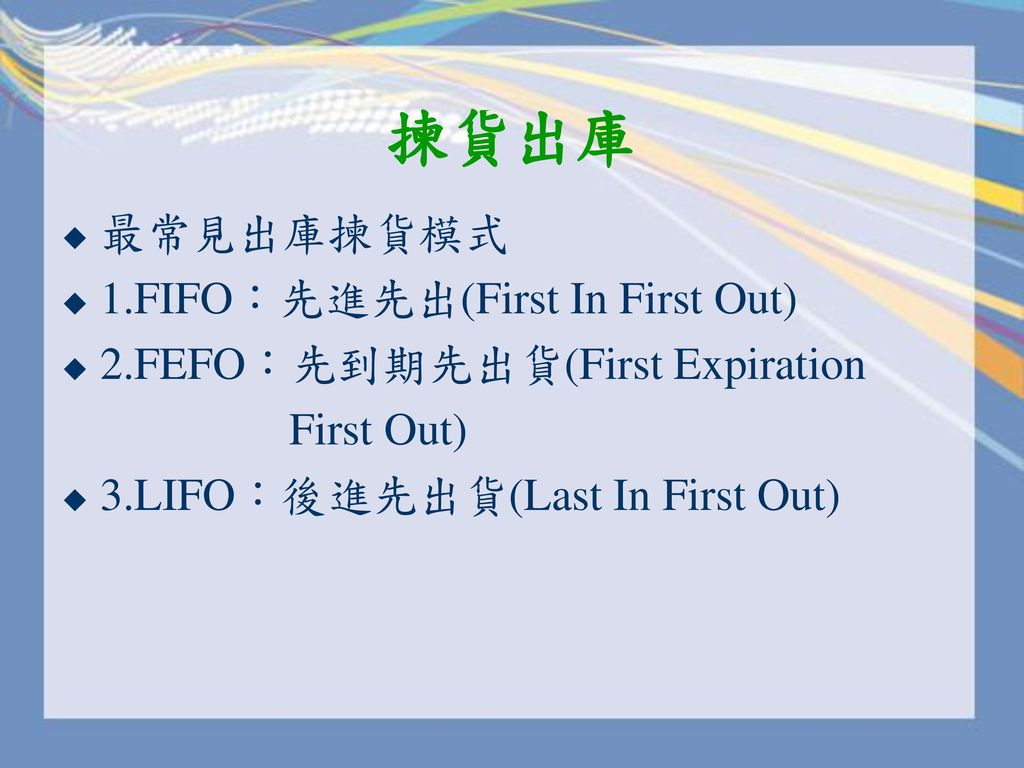 揀貨出庫 最常見出庫揀貨模式 1.FIFO:先進先出(First In First Out)