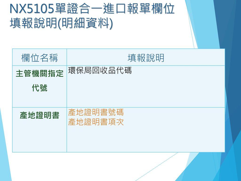 NX5105單證合一進口報單欄位填報說明(明細資料)