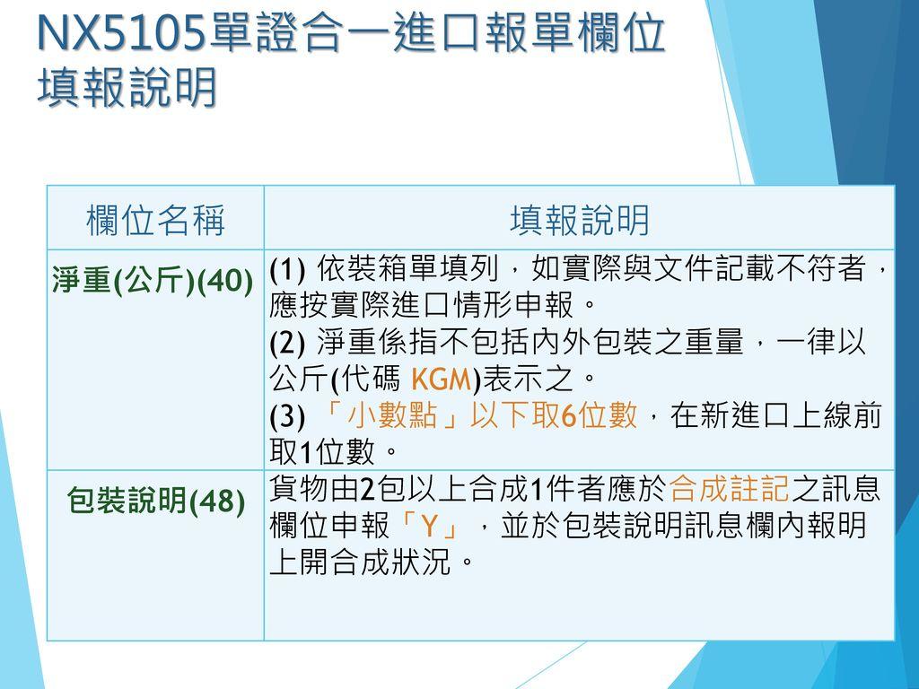 NX5105單證合一進口報單欄位填報說明 欄位名稱 填報說明 淨重(公斤)(40)