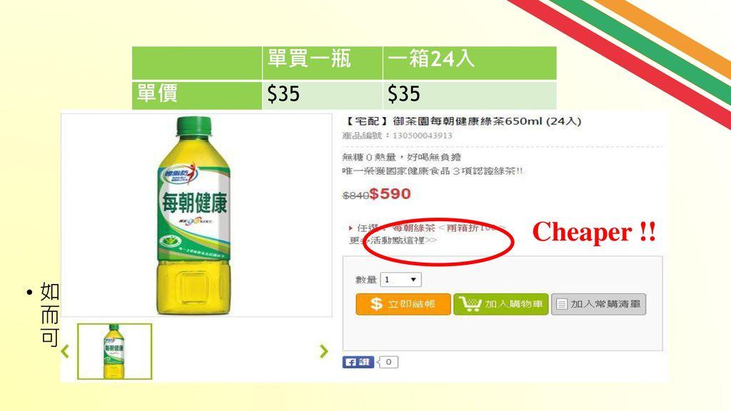 Cheaper !! 單買一瓶 一箱24入 單價 $35 數量 24 總價 $840 折扣 $0 $250 售價 $590 平均一瓶