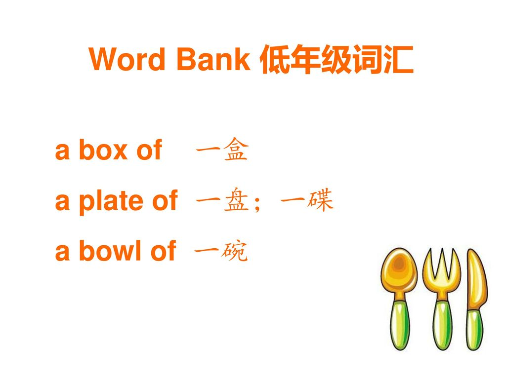Word Bank 低年级词汇 a box of 一盒 a plate of 一盘;一碟 a bowl of 一碗