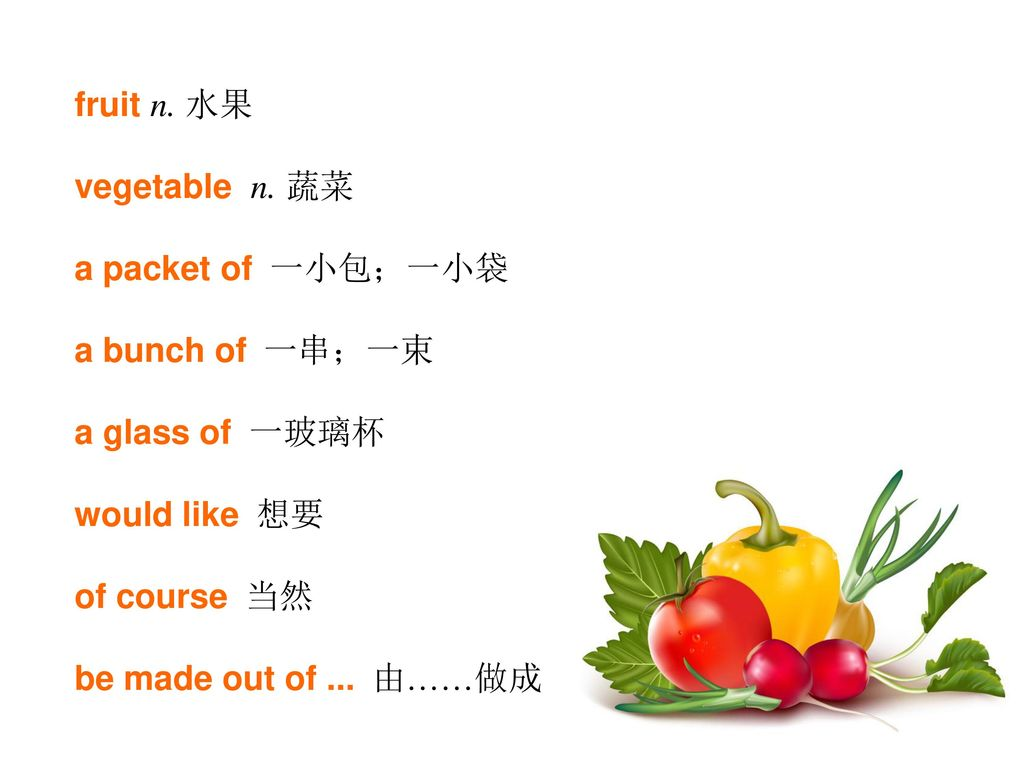 fruit n. 水果 vegetable n. 蔬菜. a packet of 一小包;一小袋. a bunch of 一串;一束. a glass of 一玻璃杯. would like 想要.