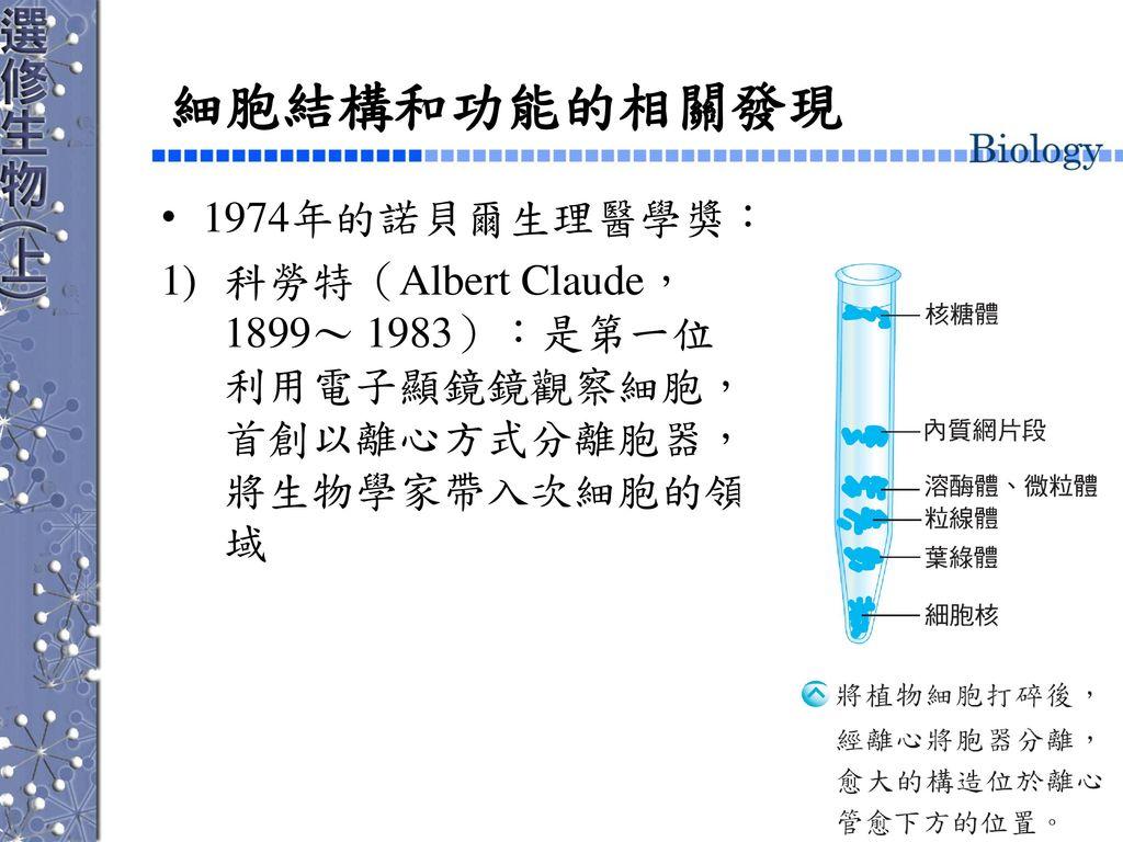 細胞結構和功能的相關發現 1974年的諾貝爾生理醫學獎: