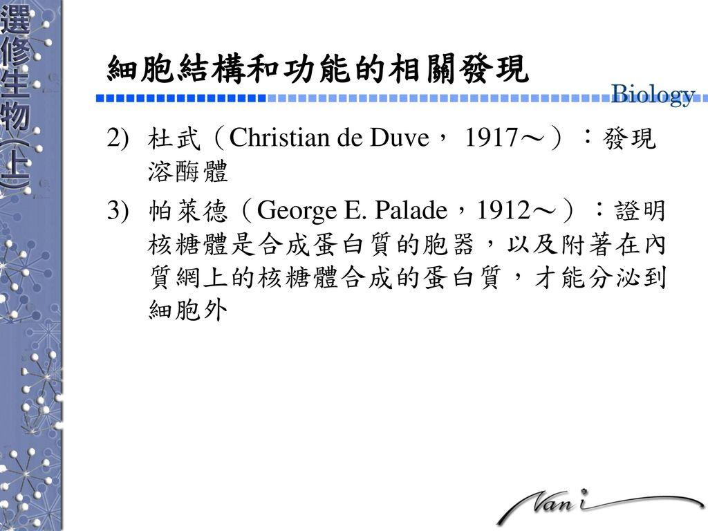 細胞結構和功能的相關發現 杜武(Christian de Duve, 1917~):發現 溶 體
