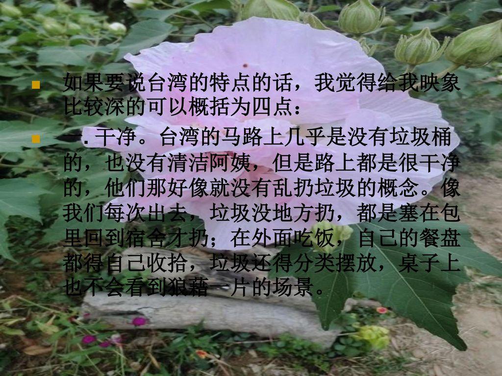 如果要说台湾的特点的话,我觉得给我映象比较深的可以概括为四点: