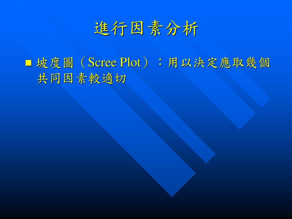 進行因素分析 坡度圖(Scree Plot):用以決定應取幾個共同因素較適切