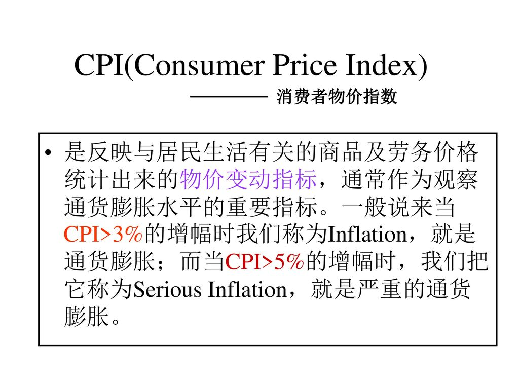 CPI(Consumer Price Index)