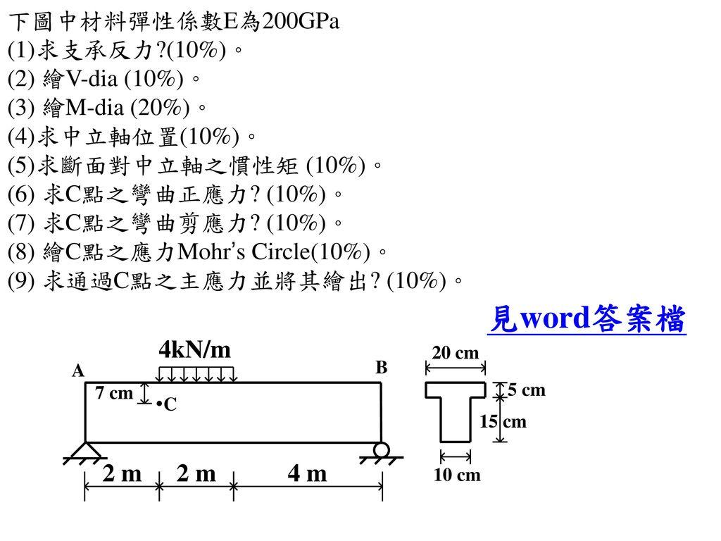 下圖中材料彈性係數E為200GPa (1)求支承反力