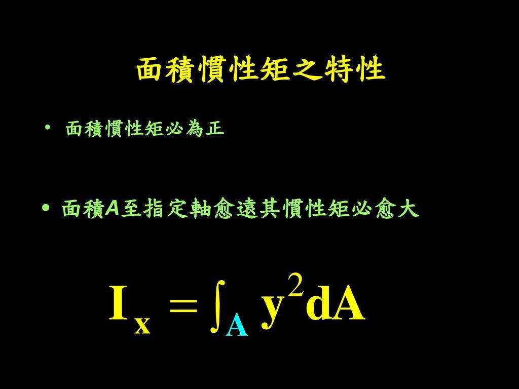 面積慣性矩之特性 面積慣性矩必為正 面積A至指定軸愈遠其慣性矩必愈大