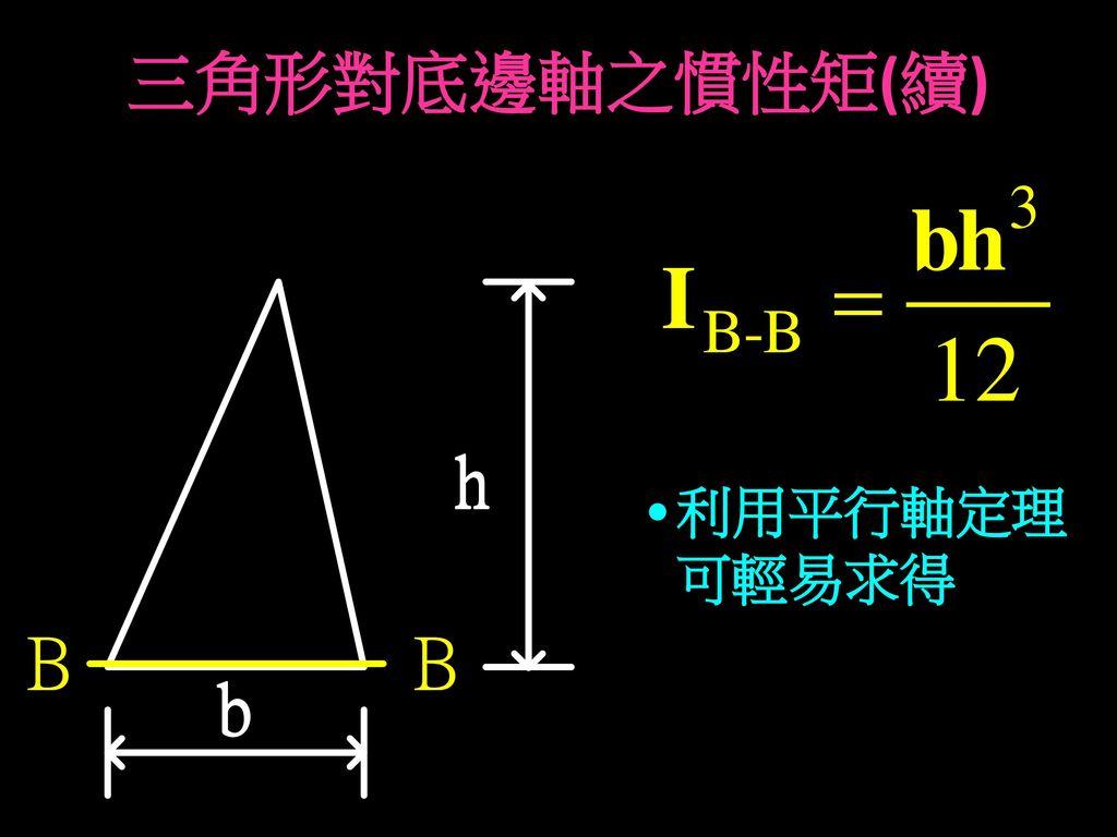 三角形對底邊軸之慣性矩(續) 利用平行軸定理 可輕易求得