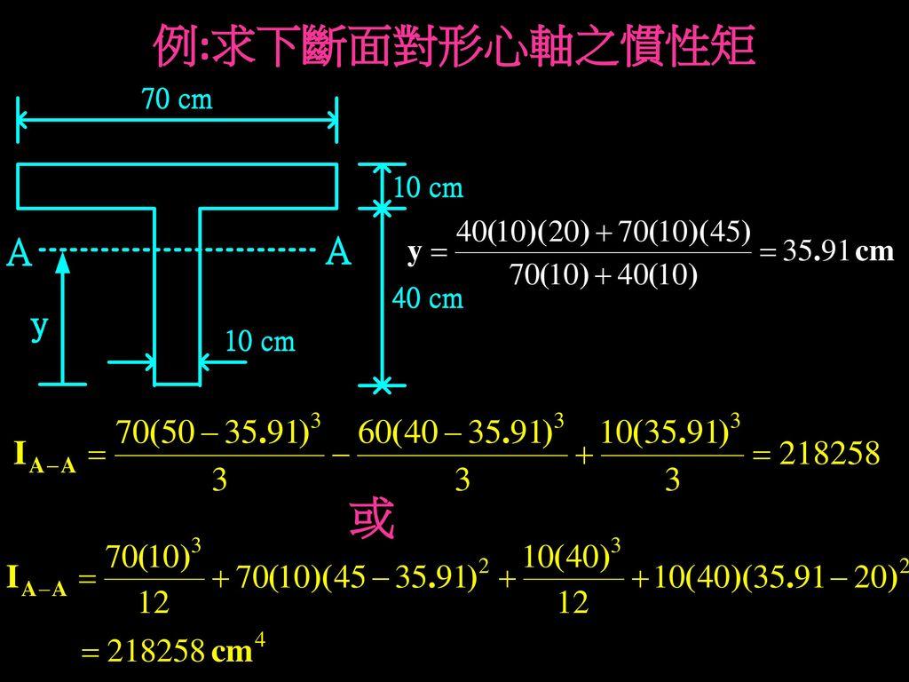 例:求下斷面對形心軸之慣性矩 或