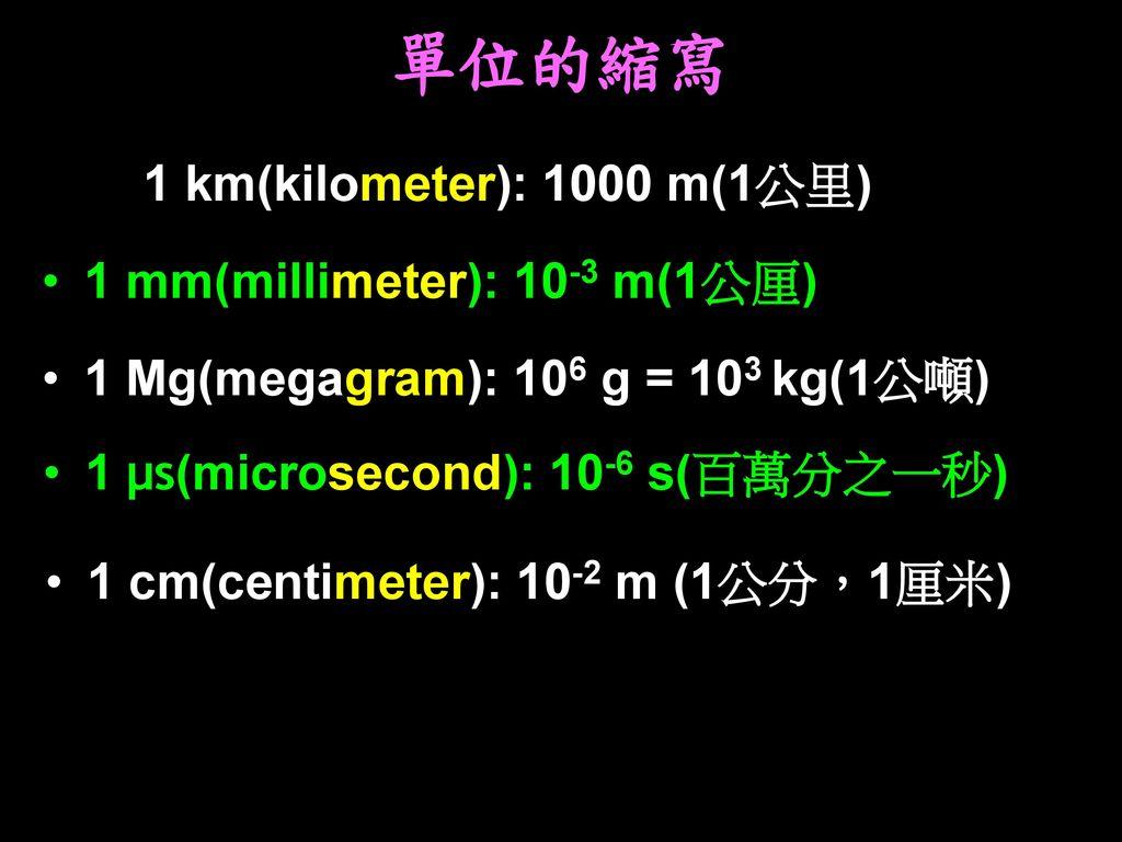 單位的縮寫 1 km(kilometer): 1000 m(1公里) 1 mm(millimeter): 10-3 m(1公厘)
