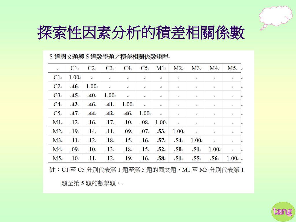 探索性因素分析的積差相關係數