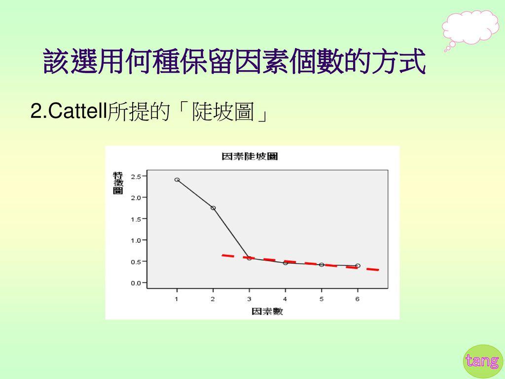 該選用何種保留因素個數的方式 2.Cattell所提的「陡坡圖」