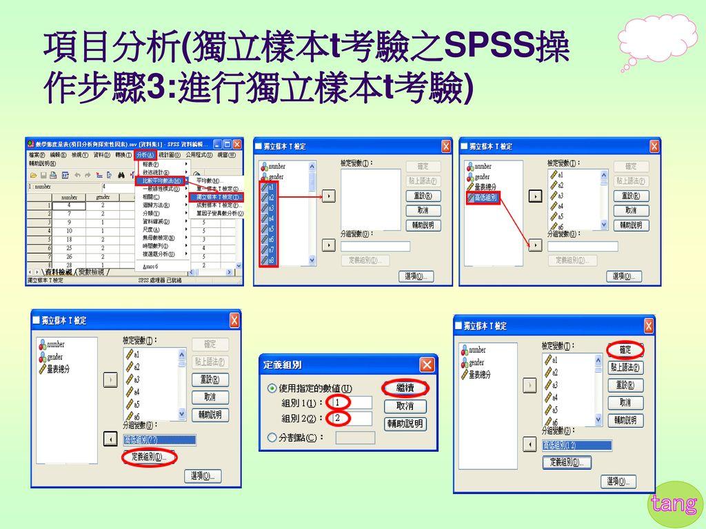 項目分析(獨立樣本t考驗之SPSS操作步驟3:進行獨立樣本t考驗)